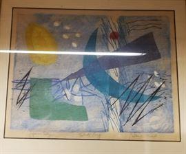 framed abstract bird sun print