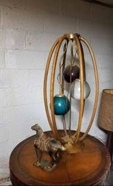 wood glass bulb lamp