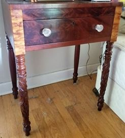 antique carved, mixed woods, sidetable
