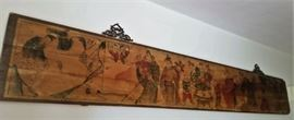 Asian wood painting approximately 48""