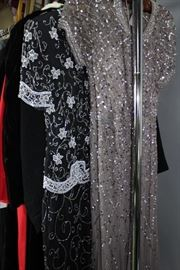 Beaded and sequined evening dresses
