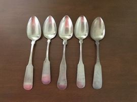 5 coin silver serving spoons. N Harding hallmark.