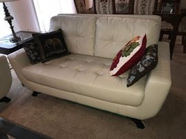 Off white leather loveseat, like new