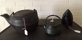 Cast iron kettles and iron