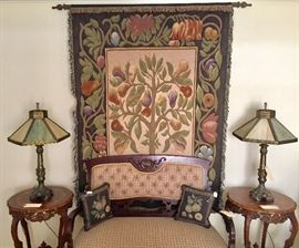 Antique settee, carved inlay accent tables, tapestry, and pair of antique slag-glass lamps