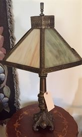 Antique slag-glass lamp