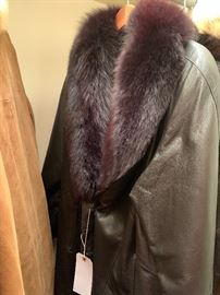 Leather Henig coat with mink collar