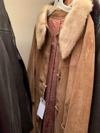 Vintage leather and mink coat