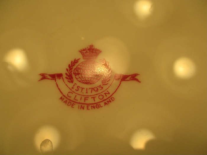 Mark on bottom of Minton china, Clifton pattern