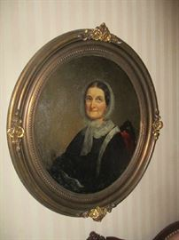 Oil painting, Portrait, mid 19th century woman, oval gold gilt frame