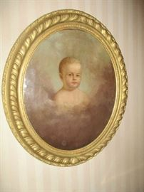 Oil painting, Portrait, mid 19th century child, oval gold frame