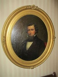 Oil Painting, Portrait, mid 19th century, oval gold gilt frame