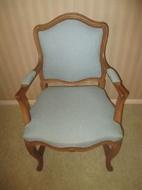 Arm chair, American French provincial style, fruitwood frame, light blue upholstery