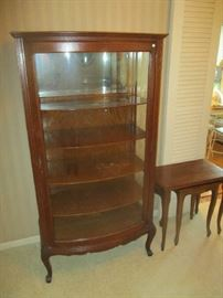 Antique Oak China Cabinet, single door with curved glass, four shelf, circa 1900