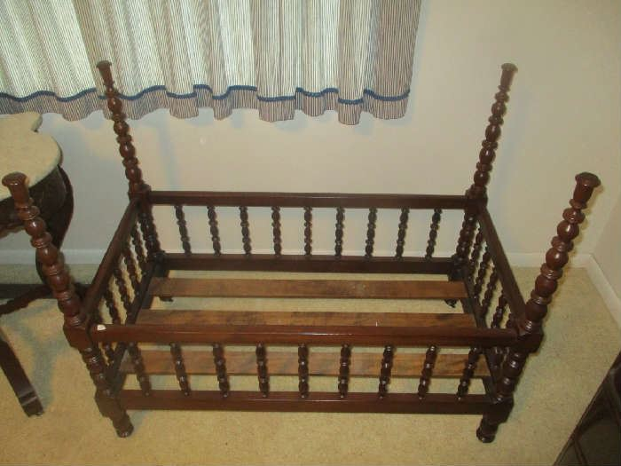 Childs crib, antique, turned four poster