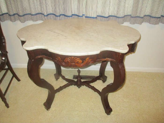 Antique parlor table, marble top