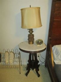 Antique Parlor table, white marble top