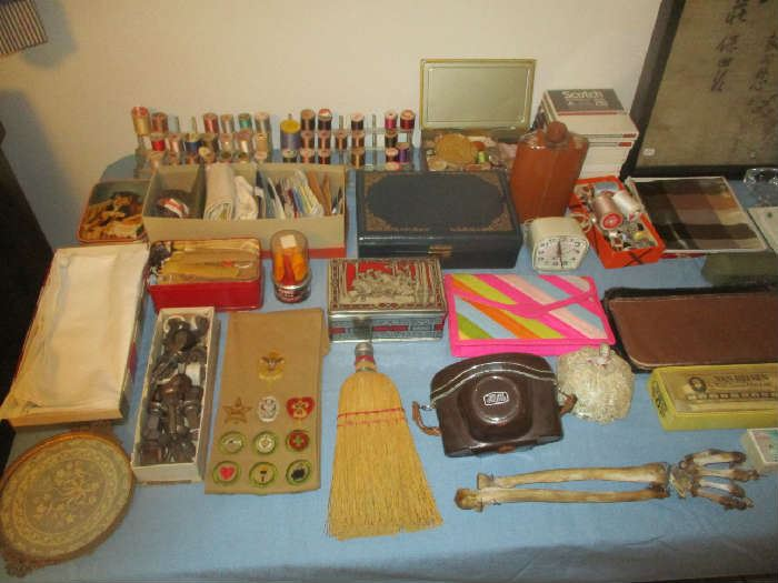 Sewing items, camera and assorted items