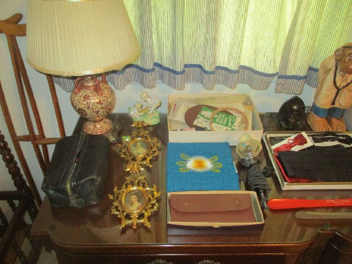 Frames, table lamp and misc. items