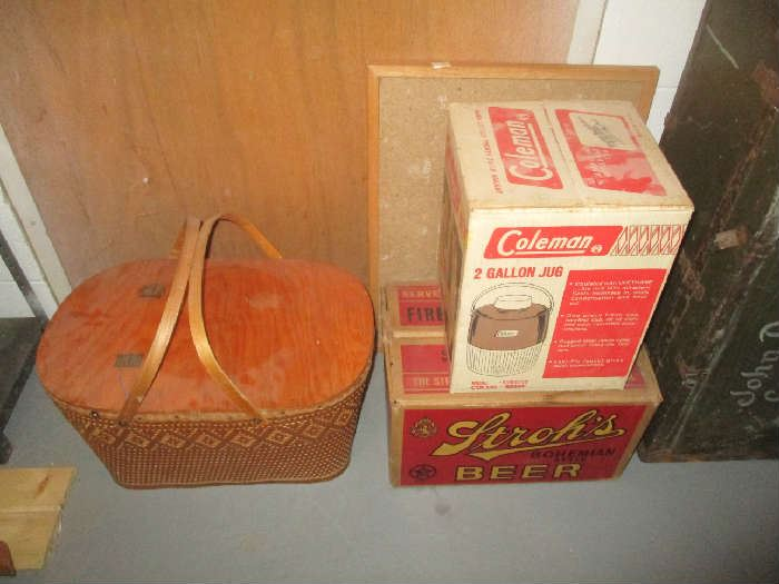 Picnic basket, Coleman cooler and beer crate