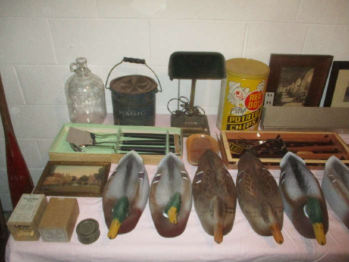 Duck decoys, tin and assorted items