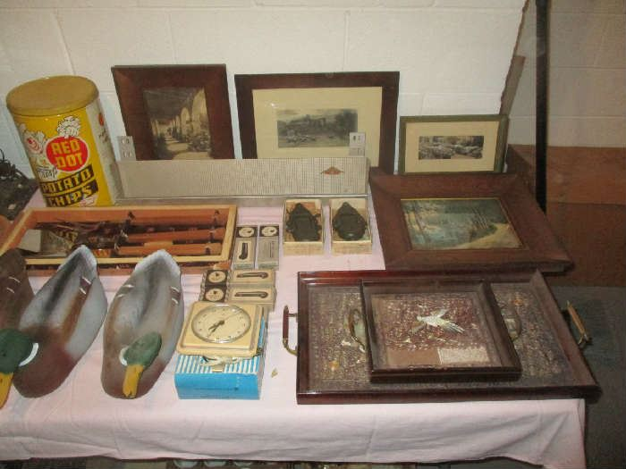 Duck decoys, clock, pictures and trays