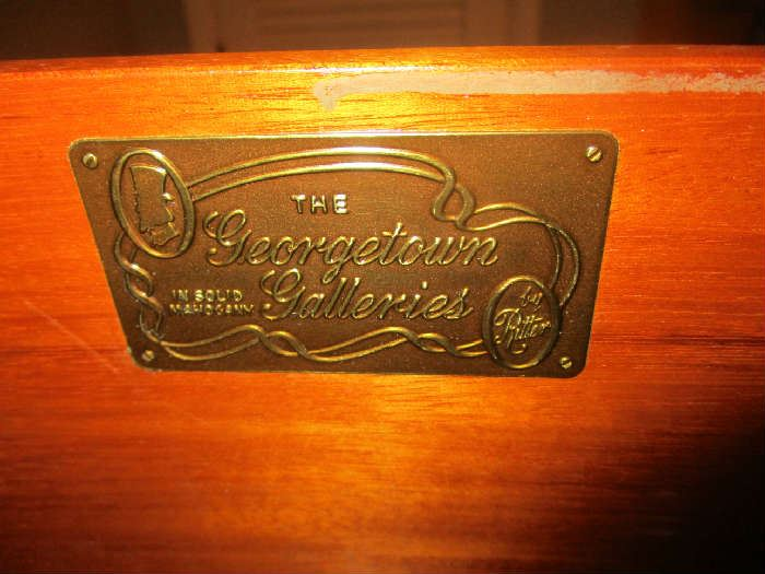 Label on mahogany dresser, The Georgetown Galleries