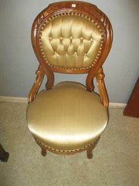 Victorian Parlor Side Chair, walnut, gold satin upholstery