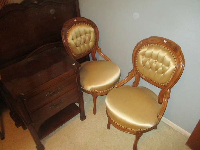 Pair of Victorian Parlor Side Chair, walnut, gold satin upholstery