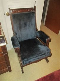 Antique Victorian parlor platform rocker, walnut, blue velvet, circa 1860