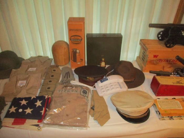 Assorted Military hats, Helmets and clothing