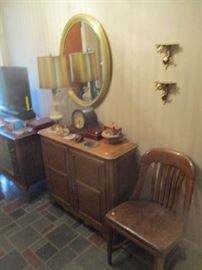 Console stand, 2 door, fruitwood, chair and assorted items