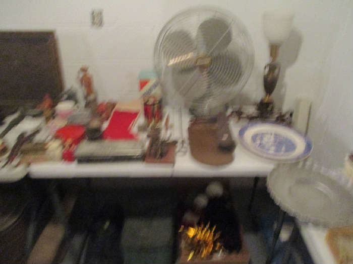 Fan, lamp and assorted items