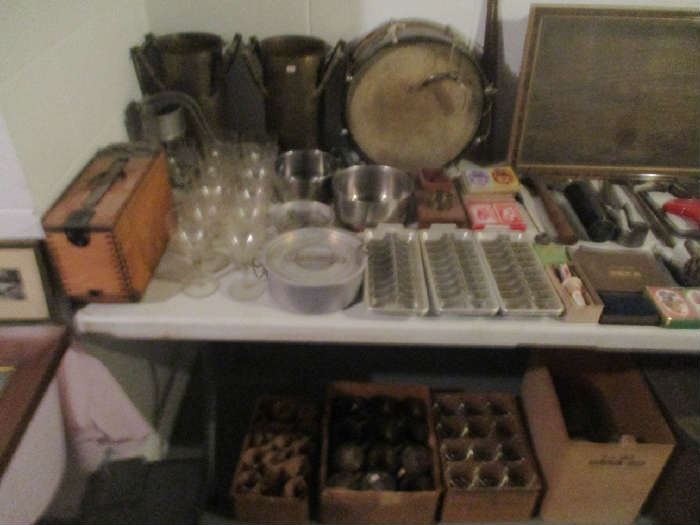 Glassware, Drum and assorted items