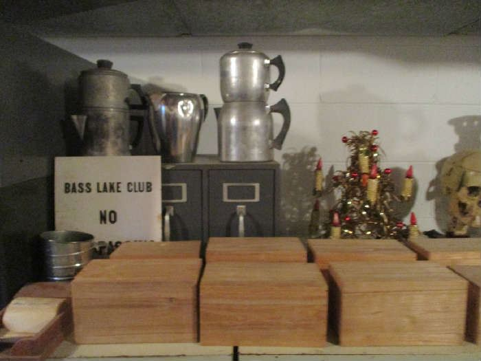 Wood boxes, Coffee pots and assorted items