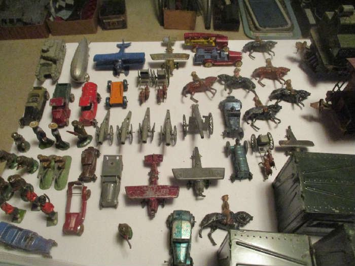 Miniature cast toys, cars and military figures