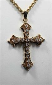 Gold and Diamond Cross with Black Enamel