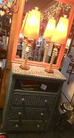 Gray Wicker Chest w/ Top that Turns for a TV and an area under the top for DVD player, cable box, etc