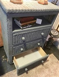 Closer look inside this adorable 3-Drawer TV Chest with gray & white drawer liners, AND IT'S ON ROLLERS!