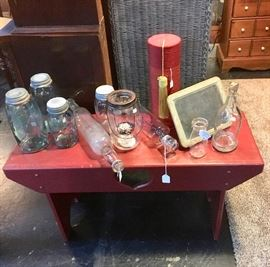 Red Wooden Bench, Blue Mason Jars, Glass Rolling Pins, Small 1/2 Pint Milk Jar, and Small Vintage Chalkboard
