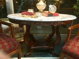 Large Oval Marble Top w/Carved Wooden Bottom and Edges