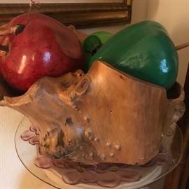 burl w/faux fruit large