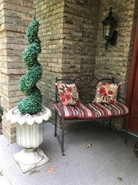 1 of 2 Concrete urn planters, and a cute iron bench