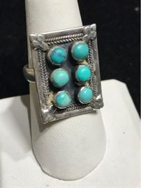 Sterling  Turquoise cocktail ring