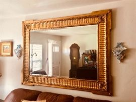 Large gilt wall beveled mirror