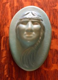 Van Briggle pottery Indan face plaque