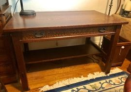 THIS DESK HAS BEEN REMOVED FROM THE SALE BY THE FAMILY. Our sincere apologies. L.G. Stickley library table / desk (signed)