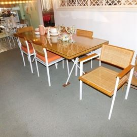 George Nelson Herman Miller mid century modern X-Leg dining table with 6 matching chairs
