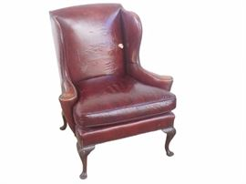 GP103 Queen Anne Style Leather Wing Chair