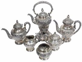 1Six 6 Piece Chinese YU CHANG Sterling Silver Tea